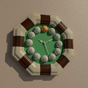 octagon billiard wall clock 3D model