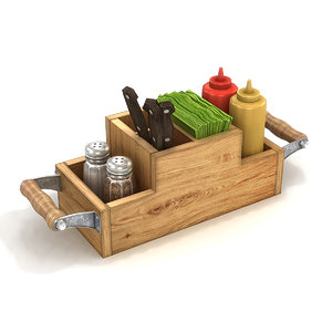 3D cafe condiment caddy mustard