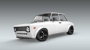 3D modified 1973 fiat 128 model