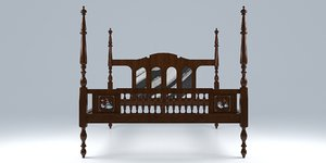 3D vintage colonial bed furniture model
