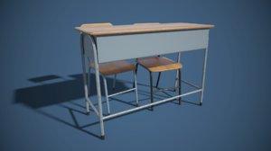 3D model classroom desk chair