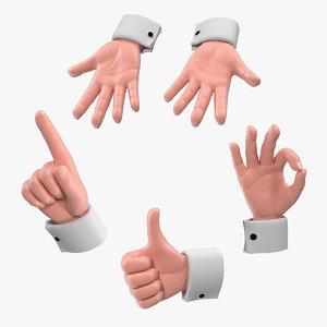 3D cartoon man hands
