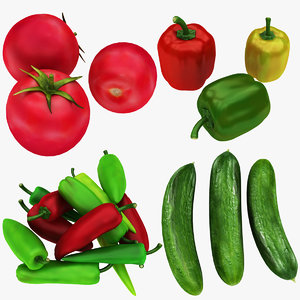 tomato cucumber chili bell 3D model