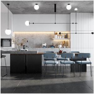 3D kitchen scene interior model