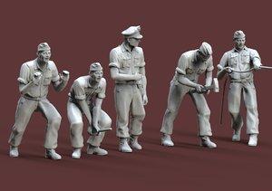german tank crew 3D model