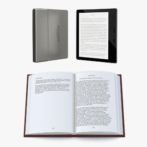 paper book e-reader read 3D model