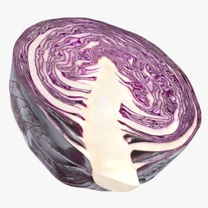 realistic half red cabbage 3D model