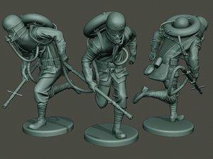 3D model german soldier ww1 run