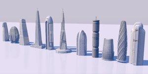 skyscraper futuristic downtown 3D model