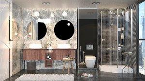 3D interior bathroom set room model