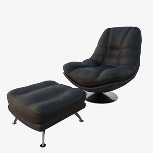 3D black leather axis swivel chair