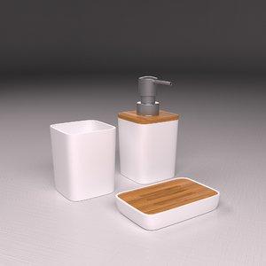 bathroom accessory set soap 3D model
