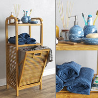 Bamboo shelf with laundry basket with accessories