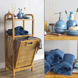 3D basket bamboo shelf model
