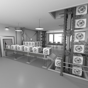 interior factory scene animation 3D model