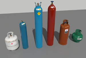 pack industrial gas cylinders 3D model