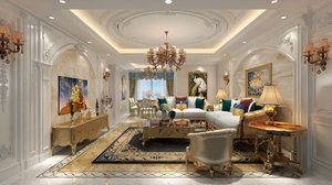 3D living dining room empire