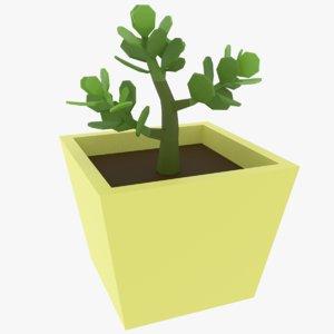 3D cartoon jade plant model