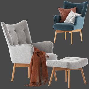 3D temple webster buckland armchair model