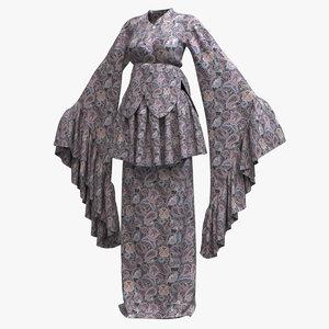 3D female kimono robe 001
