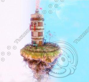 3D island floating