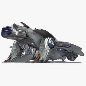 3D sci-fi dropship landing position