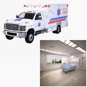 3D model bed isolation ward ems ambulance