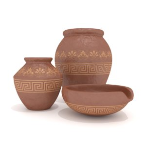 3D model antique clay pots bowl
