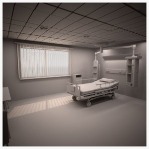 3D model single bed isolation ward