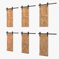 Loft style wooden door set