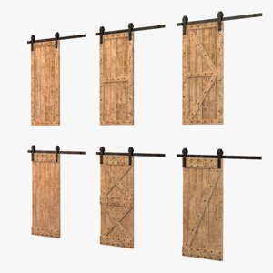 3D model loft style wooden door