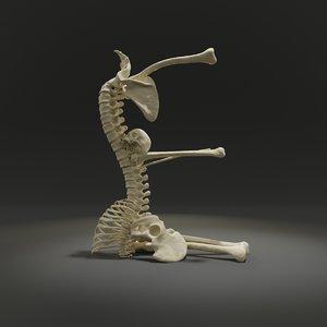 letter e bones skeleton 3D