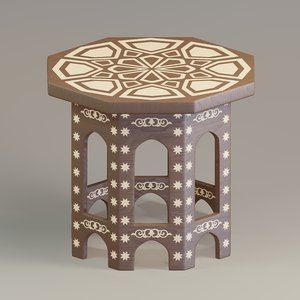 3D table painted wood model