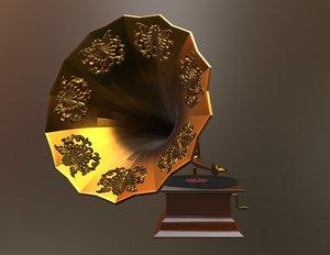 gramophone vintage old 3D model