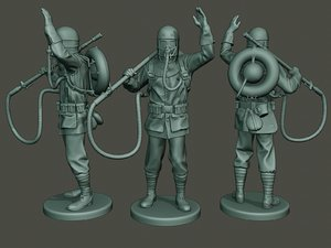 3D german soldier ww1 saluting model