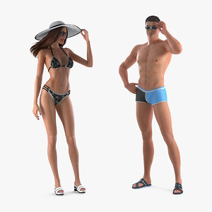 3D man woman swimwear model