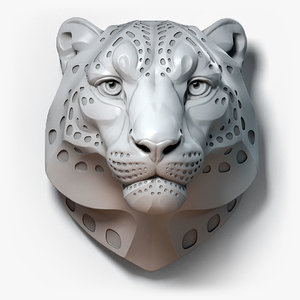 3D snow leopard spotted animal head