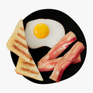 cartoon bacon eggs model
