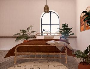 3D revit nordic bedroom