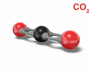 3D carbon dioxide molecule co2