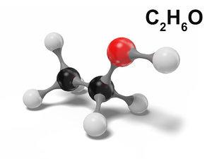 ethanol molecule c2h6o modeled 3D model