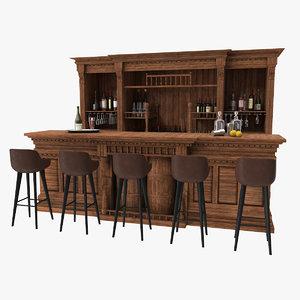 3D vintage bar counter stools