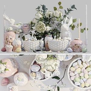 3D easter set rabbits flowers