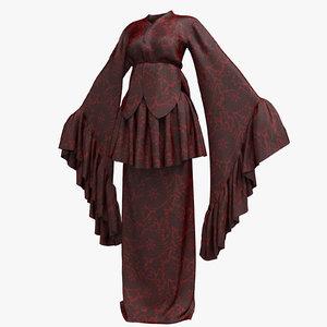 3D female kimono robe 002