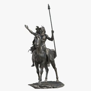 3D american indian statue