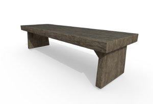 3D wooden bench model