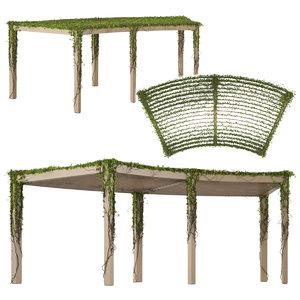 garden arbor pergola ivy 3D model