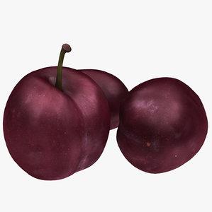3D purple plum model