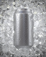 Beverage Can with Ice Cubes and Water Droplets 350ml