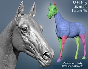 3D model realistic horse basemesh animation